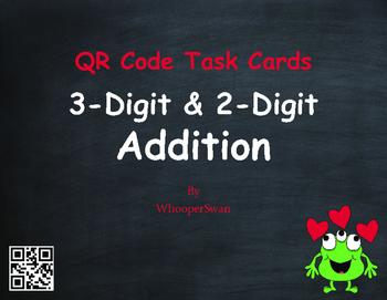 Valentine's Day Math: 3-Digit and 2-Digit Addition QR Code Task Cards