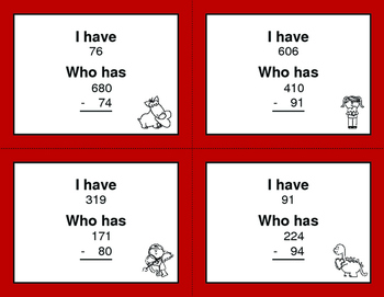 Valentine's Day Math: 3-Digit and 2-Digit Subtraction - I Have, Who Has