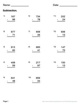 Valentine's Day Math: 3-Digit and 2-Digit Subtraction Maze