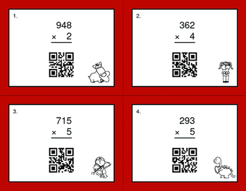 Valentine's Day Math: 3-Digit by 1-Digit Multiplication QR Code Task Cards