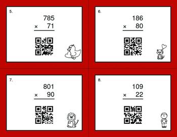 Valentine's Day Math: 3-Digit by 2-Digit Multiplication QR Code Task Cards