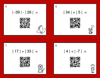 Valentine's Day Math: Absolute Value - Addition & Subtraction QR Code Task Cards