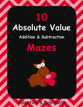 Valentine's Day Math: Absolute Value Maze - Addition & Sub