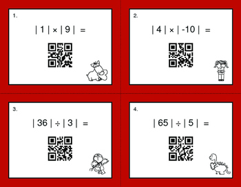 Valentine's Day Math: Absolute Value - Multiplication & Division QR Task Cards