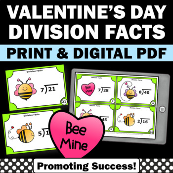 Valentines Day Math Activities 3rd 4th Grade Division Fact