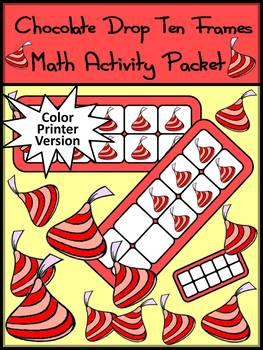 Valentine's Day Math Activities: Chocolate Drop Ten Frames - Color