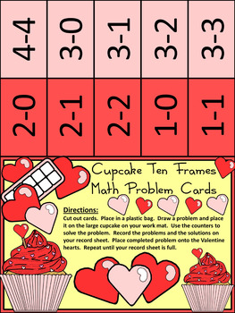 Valentine's Day Math Activities: Cupcake Valentine's Day Ten Frames Activity