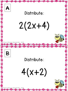 Valentine's Day Math Activity - Distributive Property