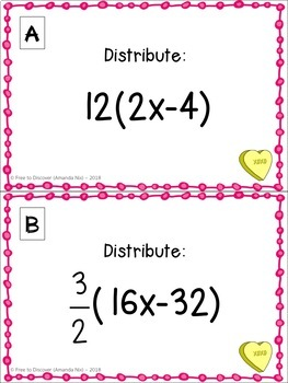 Valentine's Day Math Activity - Distributive Property (Challenging Version)