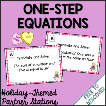 Valentine's Day Math Activity - Solving One-Step Equations