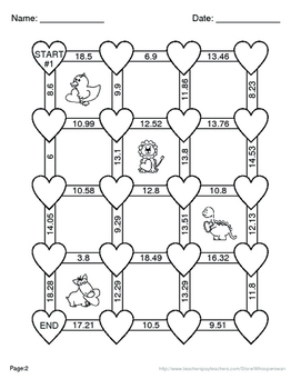 Valentine's Day Math: Adding Decimals Maze