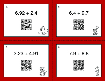 Valentine's Day Math: Adding Decimals QR Code Task Cards