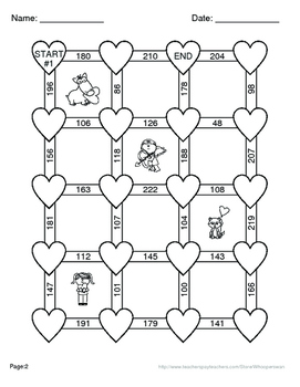 Valentine's Day Math: Adding Three 2-Digit Addition Maze