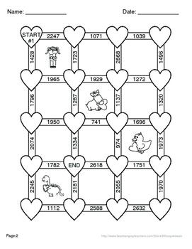 Valentine's Day Math: Adding Three 3-Digit Addition Maze