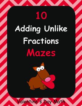 Valentine's Day Math: Adding Unlike Fractions Maze