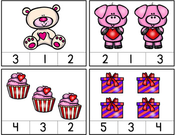 Valentine's Day Math Addition & Subtraction Facts / Counting 1 - 10 / Hands-on