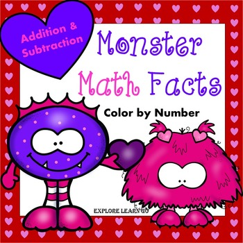 Valentine's Day Math Addition and Subtraction Facts to 20 / Color by Number