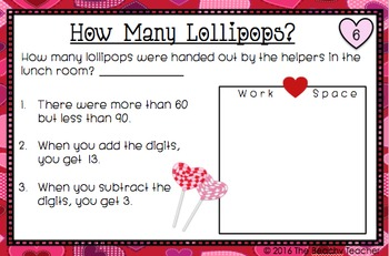Valentine's Day Math Task Cards - Guess the Number Brain Teasers