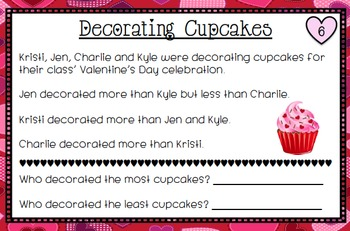 Valentine's Day Math Task Cards - Most and Least Brain Teasers