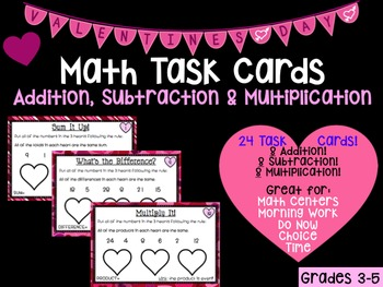 Valentine's Day Math Task Cards - Sum, Difference and Product Brain Teasers