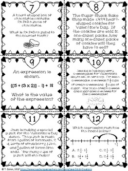 Valentine's Day Math CCSS Review Task Cards for Fifth Grade