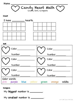 Valentine's Day Math Candy Conversation Heart Count, Sort, Compare