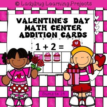 Valentine's Day Math Center Addition Cards