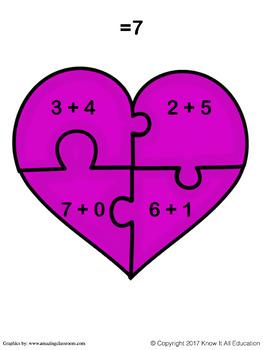 Valentine's Day Math Center: Addition Puzzles!