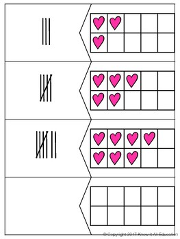 Valentine's Day Math Center Ten Frame Number Numeral Tally & Base Ten Match Up