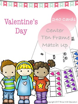 Valentine's Day Math Center Ten Frame Number Numeral Tally