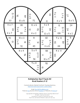 MULTIPLICATION Valentine's Day Math Activity, Game, Center, or Create a Card