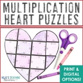 MULTIPLICATION Heart Puzzles: Grandparents Day Activities for 3rd, 4th, or 5th