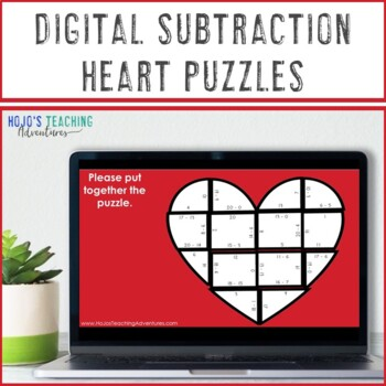 SUBTRACTION Valentine's Day Math Center, Activity, or Game Heart | Make a Card!
