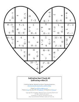 SUBTRACTION Heart Puzzles | Create a Grandparents Day Math Craft or Card