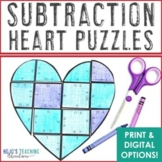 SUBTRACTION Heart Puzzles: Make a Father's Day Card or Craft