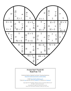 DIVISION Heart Puzzles | Grandparents Day Math Activities for Upper Elementary