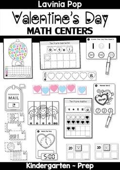 Valentine's Day Math Centers for Kindergarten B&W