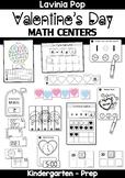 Valentine's Day Math Centers for Kindergarten B&W
