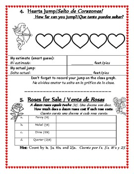 Valentine's Day Math Centers or Math Family Night Packet (English and Spanish)