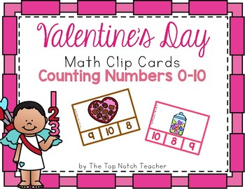 Valentine's Day Math Clip Cards Counting 0-10
