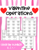 Valentine's Day Math- Color By Number *4 Different Operations*