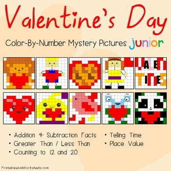 Valentine's Day Math Color-By-Number Bundle, Valentines Ma