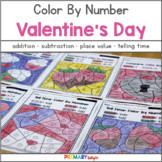 Valentine's Day Math: Color by Number - Add, Subtract, Place Value & More