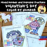 Valentine's Day Math Color by Number Improper Fractions and Mixed Numbers