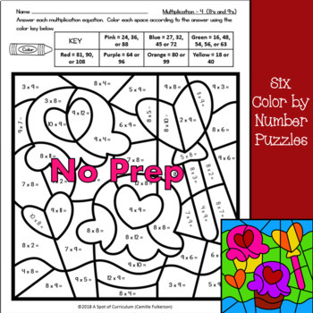 Valentine's Day Math Color by Number Multiplication