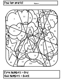 Valentine's Day Math Coloring Sheets