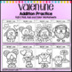 Valentine's Day Math Coloring Worksheets Addition Roll Solve and Color