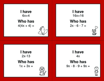Valentine's Day Math: Combining Like Terms - I Have, Who Has
