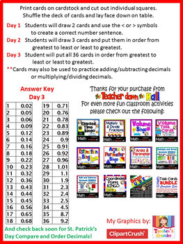 Valentine's Day Math - Compare and Order Decimals - and other activities!