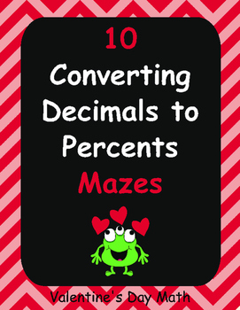 Valentine's Day Math: Converting Decimals to Percents Maze